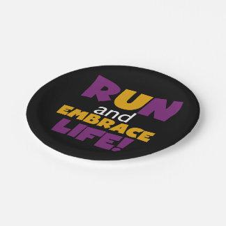 Run Embrace Life Purple Pink Paper Plate