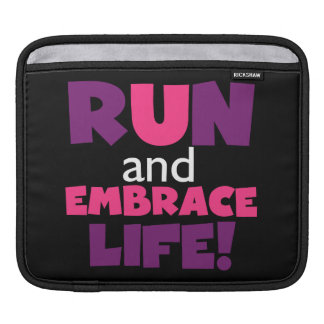 Run Embrace Life Purple Pink Sleeve For iPads