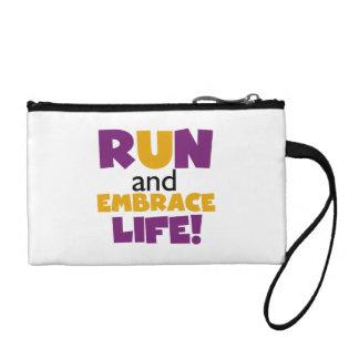 Run Embrace Life Purple Yellow Change Purses