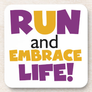 Run Embrace Life Purple Yellow Drink Coaster