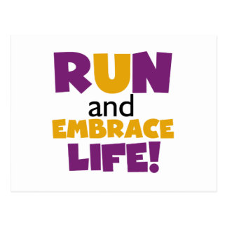 Run Embrace Life Purple Yellow Postcard
