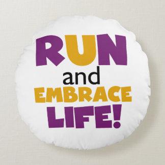 Run Embrace Life Purple Yellow Round Pillow