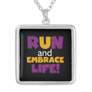 Run Embrace Life Purple Yellow Silver Plated Necklace