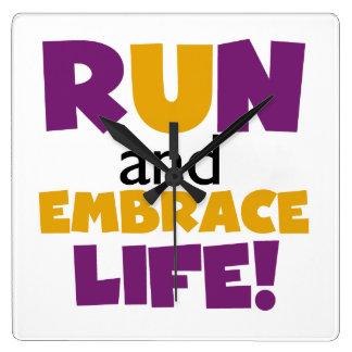 Run Embrace Life Purple Yellow Square Wall Clock