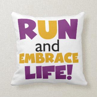 Run Embrace Life Purple Yellow Throw Pillow
