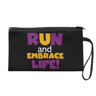 Run Embrace Life Purple Yellow Wristlet