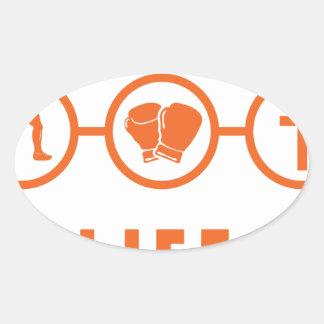 Run Fight Die - That's life! Oval Sticker