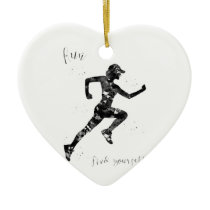 Run, find yourself ceramic ornament