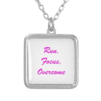 """Run. Focus, Overcome"" sterling silver necklace"