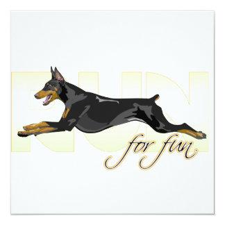 Run For Fun, Black Doberman 5.25x5.25 Square Paper Invitation Card