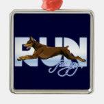 Run for Joy, Red Doberman Christmas Tree Ornament