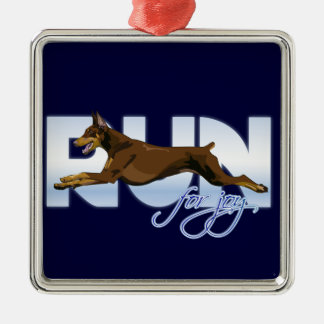 Run for Joy, Red Doberman Metal Ornament
