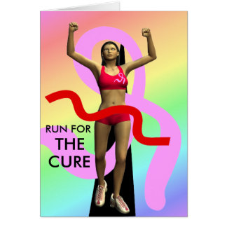 Run For The Cure Breast Cancer Awareness Greeting Card