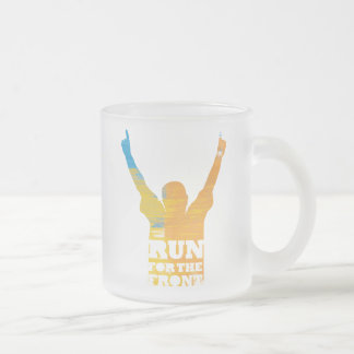 Run For the Front: Watercolor Frosted Glass Coffee Mug
