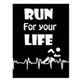Run for Your Life Running Heart Rate Design Postcard