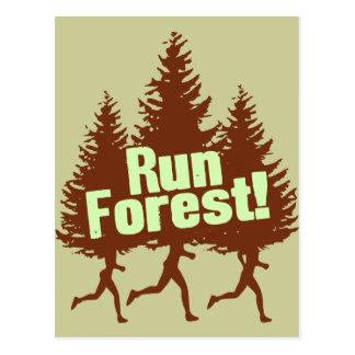 Run Forest Post Card