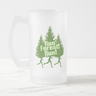 Run Forest Run Frosted Glass Beer Mug