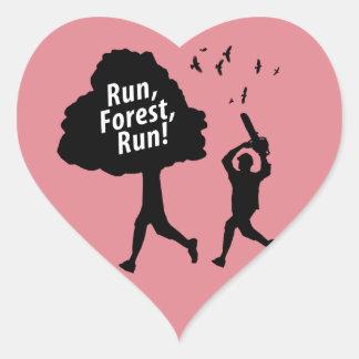 Run Forest Run Heart Sticker