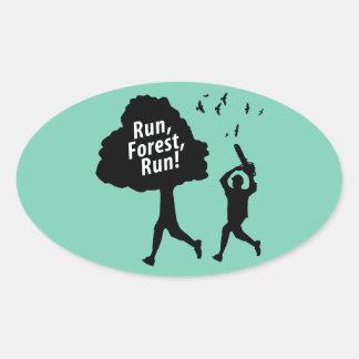 Run Forest Run Oval Sticker