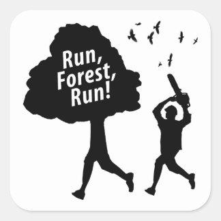 Run Forest Run Square Sticker