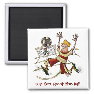 Run Fun Shoot The Ball 2 Inch Square Magnet