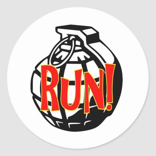 Run Grenade Classic Round Sticker