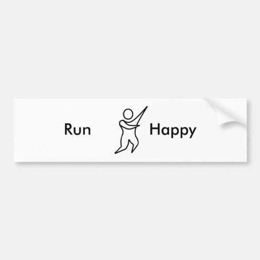 Run Happy 01, Car Bumper Sticker