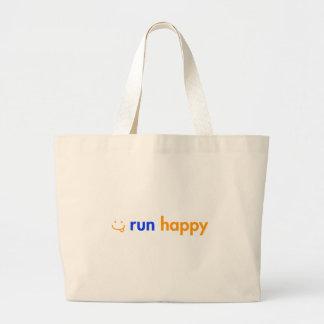 run-happy-smile-orange-blue png canvas bag