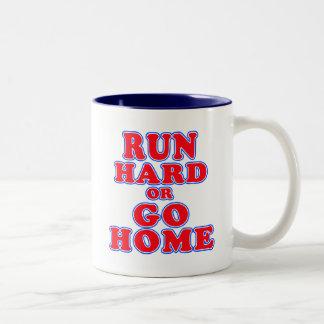 Run Hard or Go Home T-shirts, Mugs, Running Gifts Two-Tone Coffee Mug