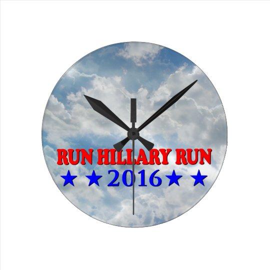 Run Hillary - Red & Blue - No BG - MultiProducts Round Clock