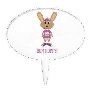Run Hoppy! Bunny Runner in Pink Cake Topper