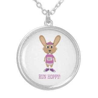 Run Hoppy! Bunny Runner in Pink Silver Plated Necklace