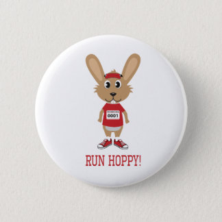 Run Hoppy! Rabbit Runner in Red Pinback Button