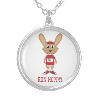 Run Hoppy! Rabbit Runner in Red Silver Plated Necklace