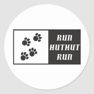 Run HutHut Run 2 Classic Round Sticker
