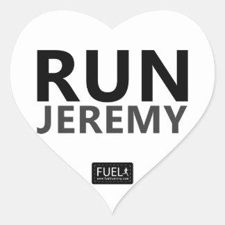 Run Jeremy Heart Sticker