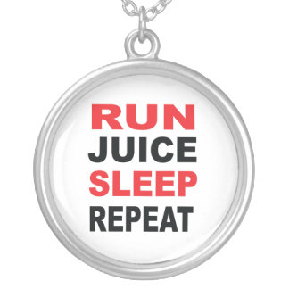 Run Juice Sleep Repeat Silver Plated Necklace