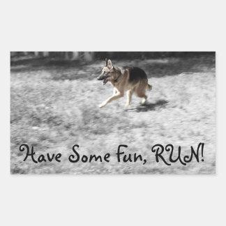 Run Left Rectangular Sticker