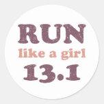 Run like a girl 13.1 round sticker