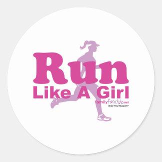 Run Like A Girl Classic Round Sticker