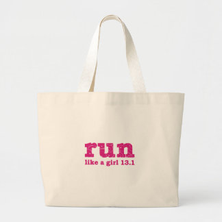 run like a girl large tote bag