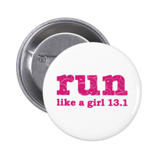 run like a girl pinback button