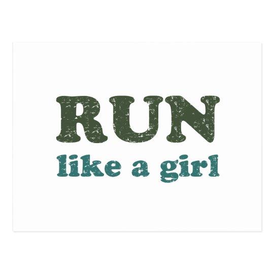 Run like a girl postcard