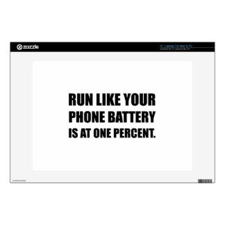 "Run Like Phone Battery One Percent 13"" Laptop Skin"