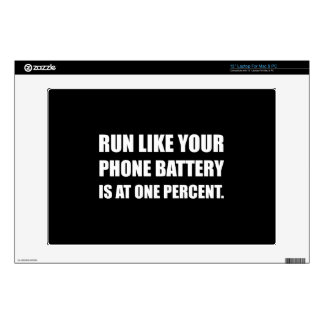 """Run Like Phone Battery One Percent Decals For 13"""" Laptops"""