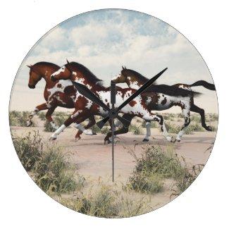 Run Like the Wind - Galloping Paint Horses Clock