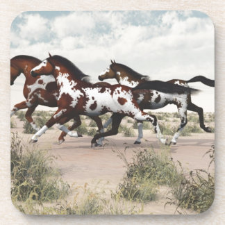 Run Like the Wind - Galloping Paint Horses Drink Coasters
