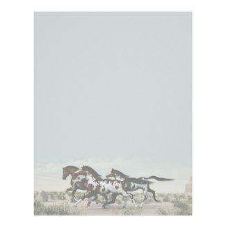 Run Like the Wind - Galloping Paint Horses Customized Letterhead