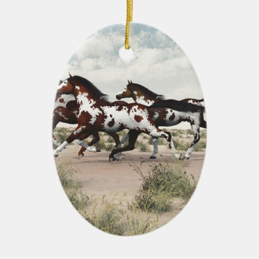 Run Like the Wind - Galloping Paint Horses Christmas Ornament
