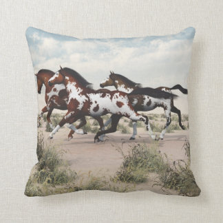 Run Like the Wind - Galloping Paint Horses Pillow
